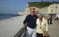 Gloria Hevener and her husband in Etretat, France near Normandy beach